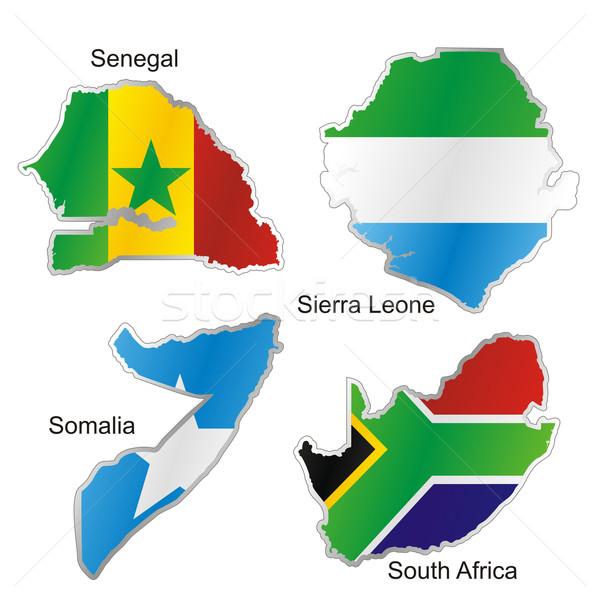 Сток-фото: изолированный · африканских · флагами · карта · форма