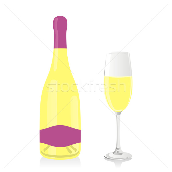 isolated champagne bottle and glass Stock photo © PilgrimArtworks