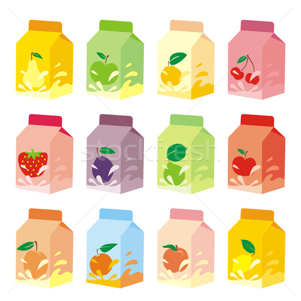 Geïsoleerd vruchten yoghurt karton dozen Stockfoto © PilgrimArtworks