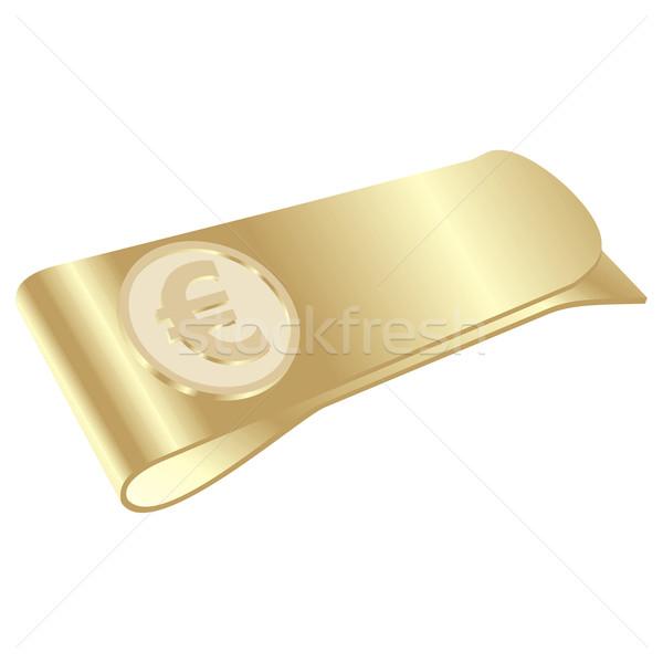 Geïsoleerd gouden geld clip euro symbool Stockfoto © PilgrimArtworks