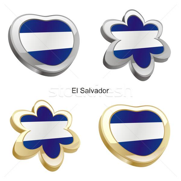 El Salvador vlag hart bloem vorm Stockfoto © PilgrimArtworks