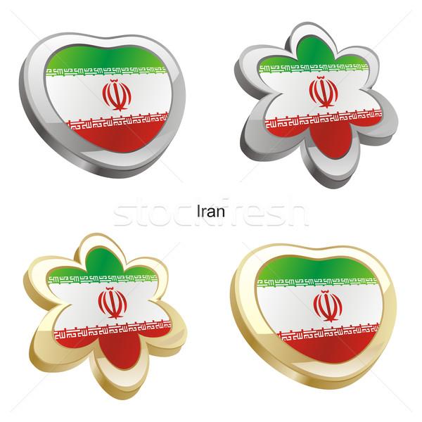 Иран флаг сердце цветок форма Сток-фото © PilgrimArtworks