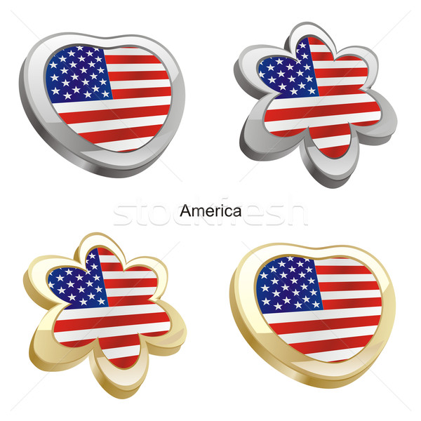 Америки флаг сердце цветок форма Сток-фото © PilgrimArtworks