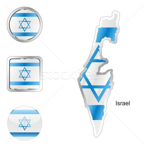 Israël kaart internet knoppen vorm vlag Stockfoto © PilgrimArtworks