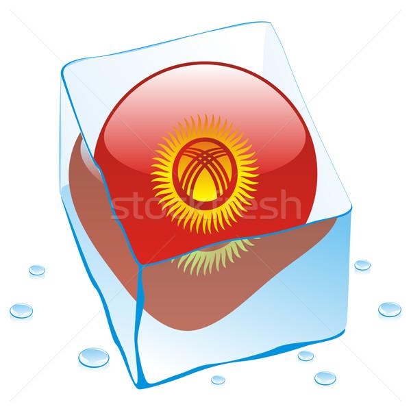 Kırgızistan düğme bayrak dondurulmuş buz düzenlenebilir Stok fotoğraf © PilgrimArtworks