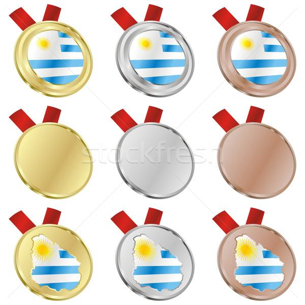 ウルグアイ ベクトル フラグ 金メダル ストックフォト © PilgrimArtworks