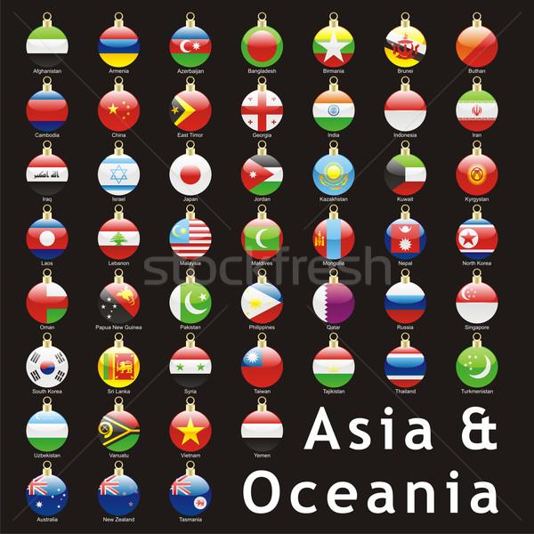 Asian drapeaux Noël forme isolé Photo stock © PilgrimArtworks