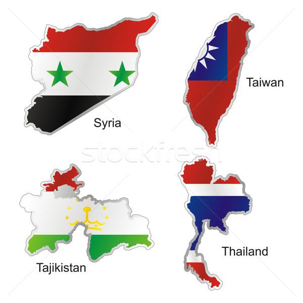 Isolado asiático bandeiras mapa forma Foto stock © PilgrimArtworks