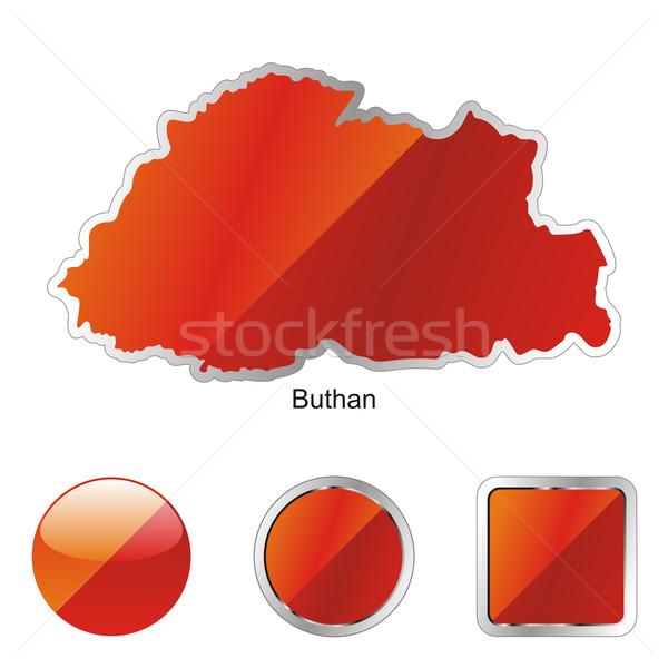 Foto stock: Mapa · botones · de · internet · forma · bandera · color