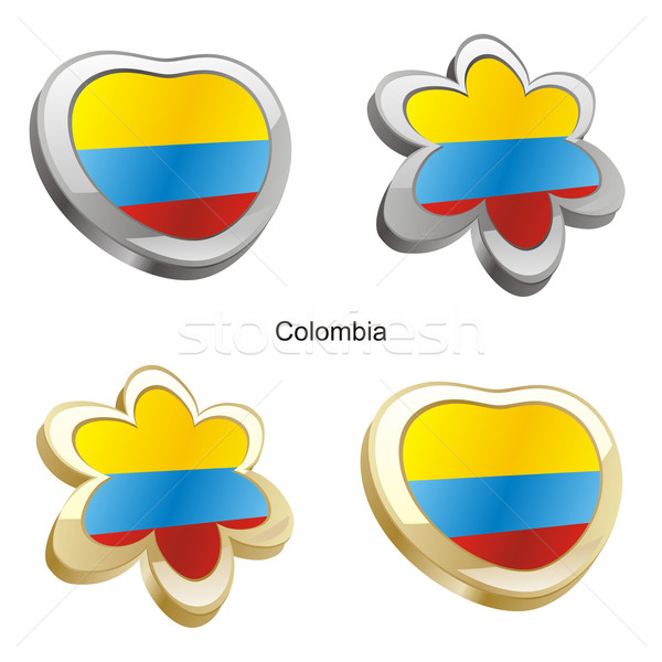 colombia flag in heart and flower shape Stock photo © PilgrimArtworks