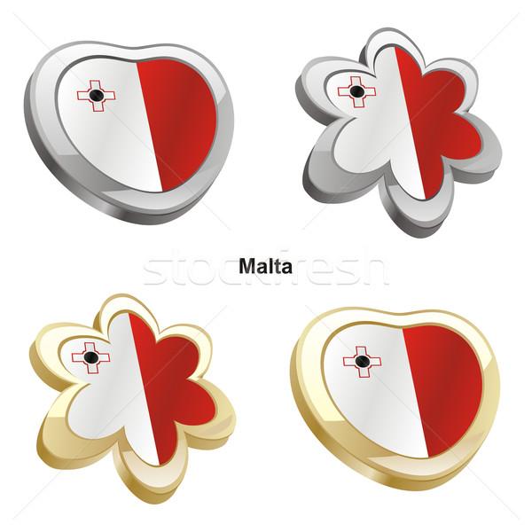 Malta vlag hart bloem vorm Stockfoto © PilgrimArtworks