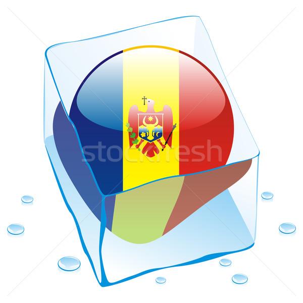 Moldova gomb zászló fagyott jégkocka szerkeszthető Stock fotó © PilgrimArtworks
