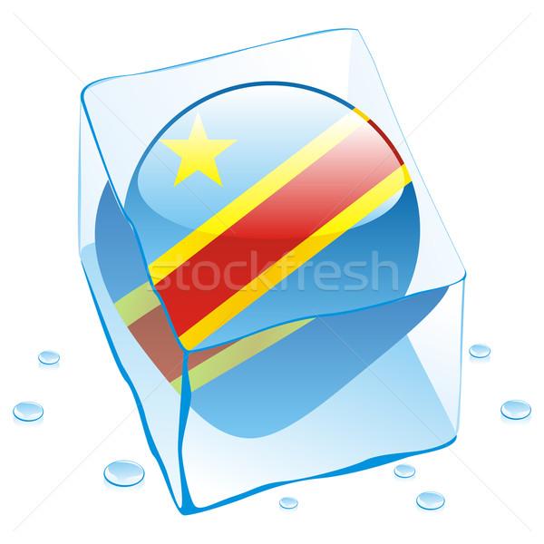 Demokratyczny Congo przycisk banderą zamrożone kostkę lodu Zdjęcia stock © PilgrimArtworks