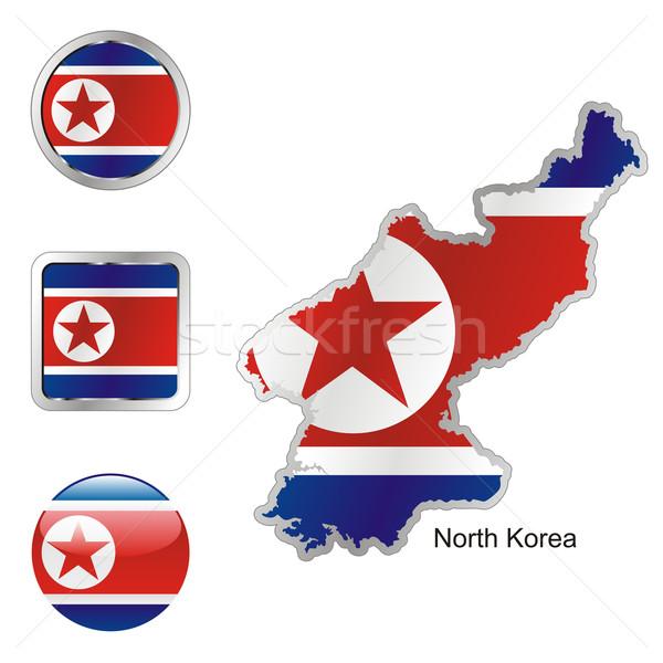 север карта Интернет Кнопки форма флаг Сток-фото © PilgrimArtworks