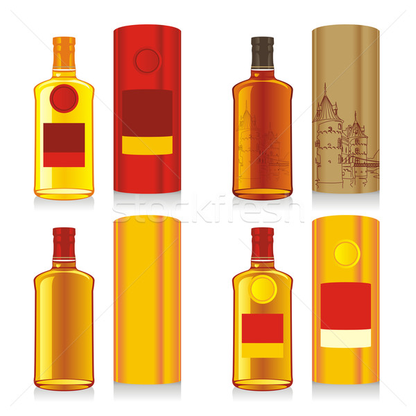 Geïsoleerd whiskey flessen dozen bier Stockfoto © PilgrimArtworks