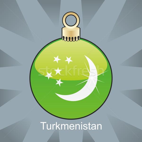 Geïsoleerd Turkmenistan vlag christmas lamp vorm Stockfoto © PilgrimArtworks