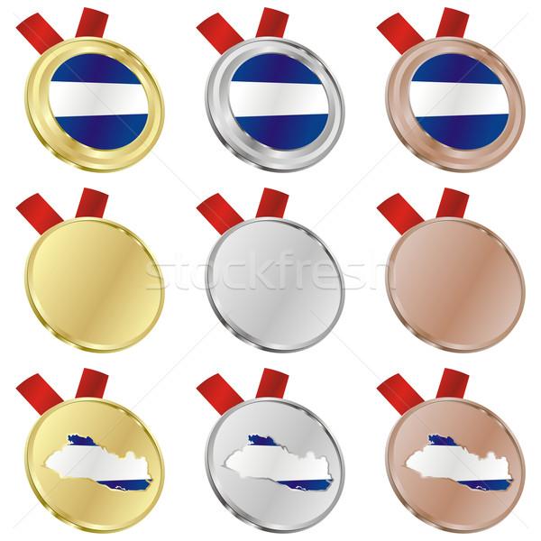 Foto stock: El · Salvador · vector · bandera · medalla · formas