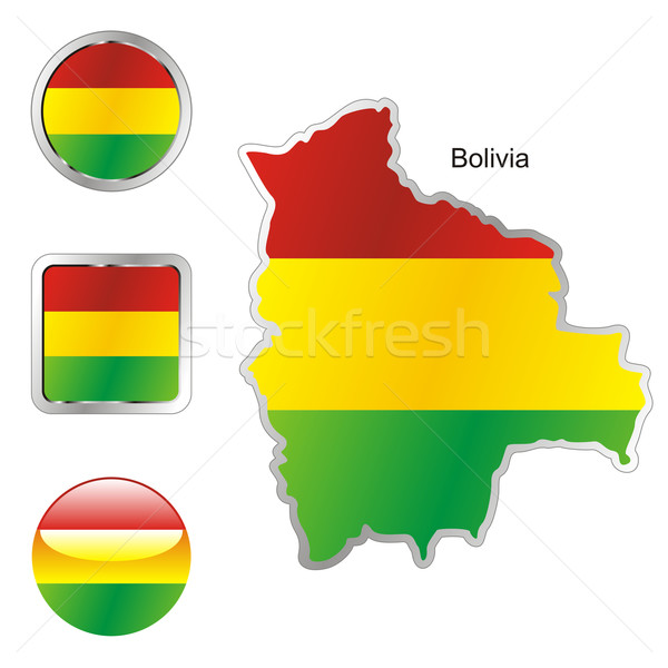 Bandeira Bolívia mapa teia botões formas Foto stock © PilgrimArtworks