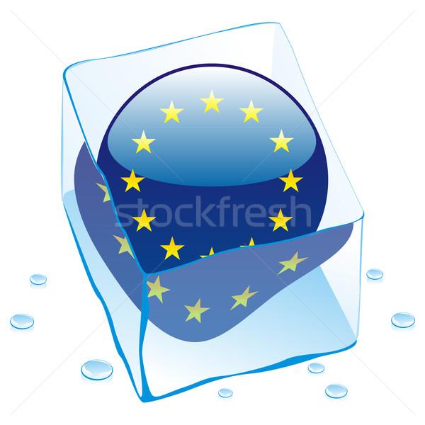 EU gomb zászló fagyott jégkocka szerkeszthető Stock fotó © PilgrimArtworks