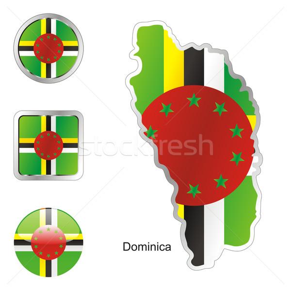 ドミニカ 地図 ウェブ ボタン ストックフォト © PilgrimArtworks