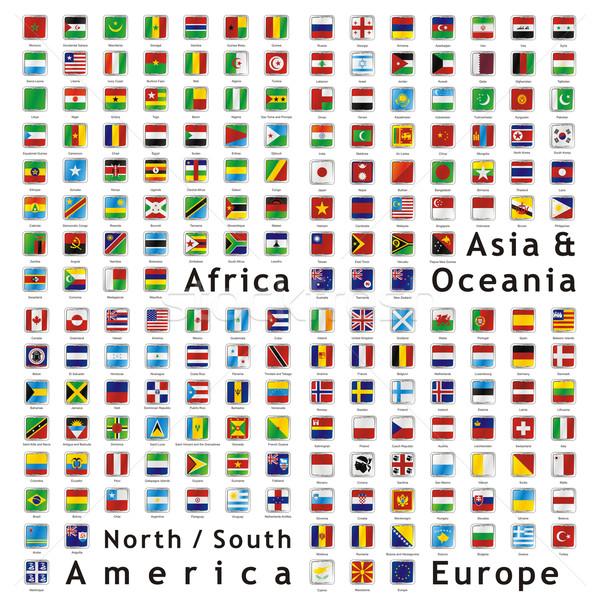 Vector wereld vlaggen web knoppen twee Stockfoto © PilgrimArtworks
