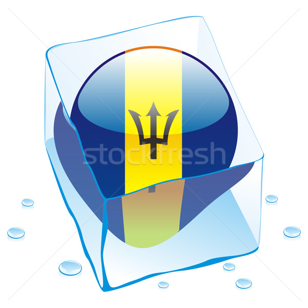barbados button flag frozen in ice cube Stock photo © PilgrimArtworks
