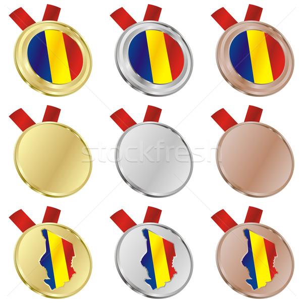 Chad vector bandera medalla formas Foto stock © PilgrimArtworks