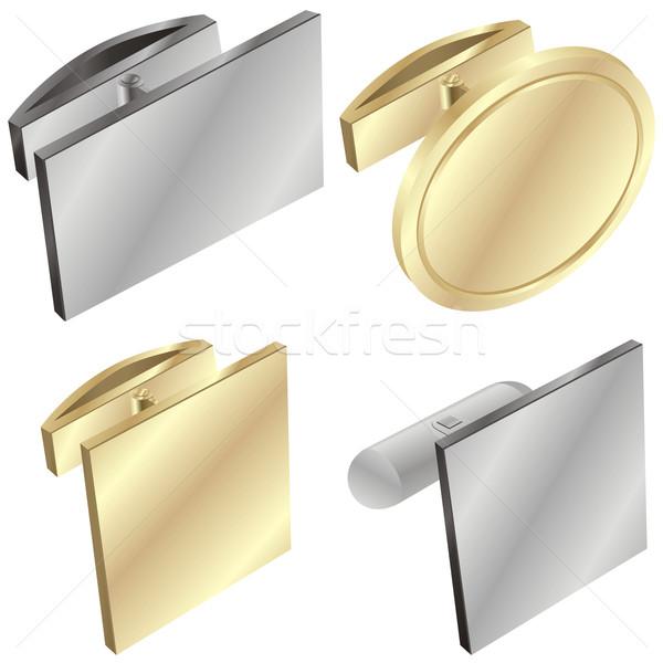 Isolato cuff link oggetto argento Foto d'archivio © PilgrimArtworks