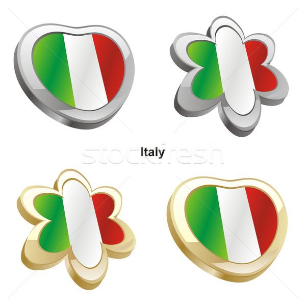 Италия флаг сердце цветок форма Сток-фото © PilgrimArtworks