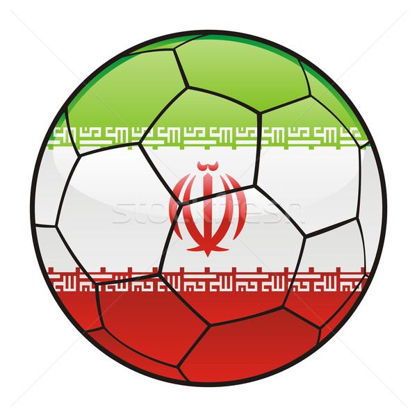 Irán zászló futballabda sport futball Stock fotó © PilgrimArtworks