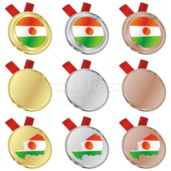 Niger vector vlag medaille Stockfoto © PilgrimArtworks
