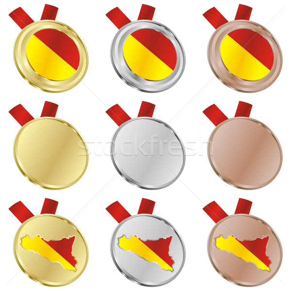 Sycylia wektora banderą medal Zdjęcia stock © PilgrimArtworks