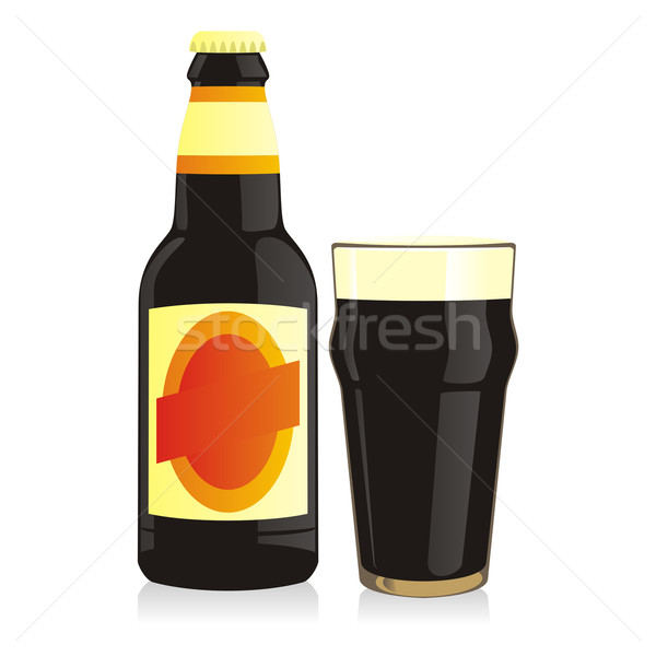 isolated bottle and glass black beer Stock photo © PilgrimArtworks