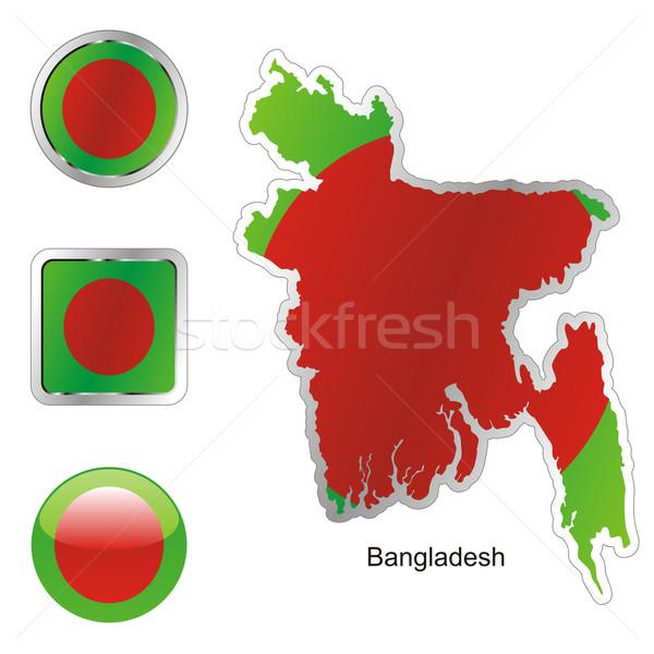 Banglades térkép internet gombok forma szerkeszthető zászló Stock fotó © PilgrimArtworks