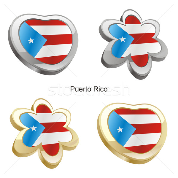 Puerto Rico vlag hart bloem vorm Stockfoto © PilgrimArtworks