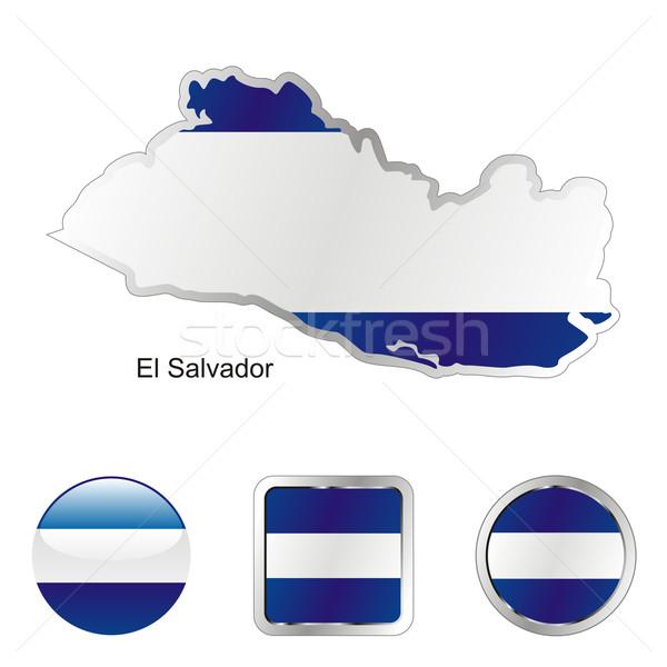 El Salvador mapa teia botões formas Foto stock © PilgrimArtworks