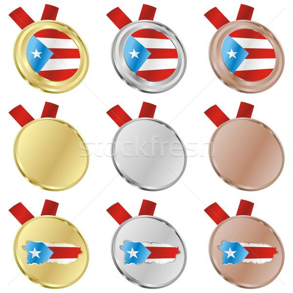 Puerto Rico vector vlag medaille Stockfoto © PilgrimArtworks