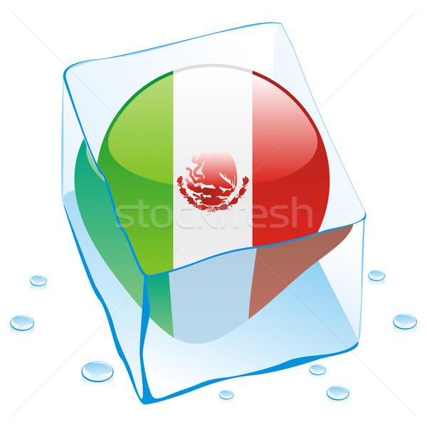 Мексика кнопки флаг заморожены Ice Cube Сток-фото © PilgrimArtworks