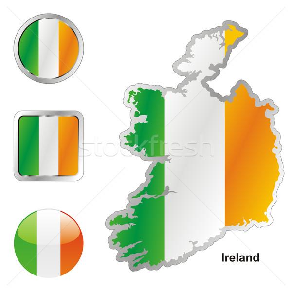 Írország térkép háló gombok formák szerkeszthető Stock fotó © PilgrimArtworks
