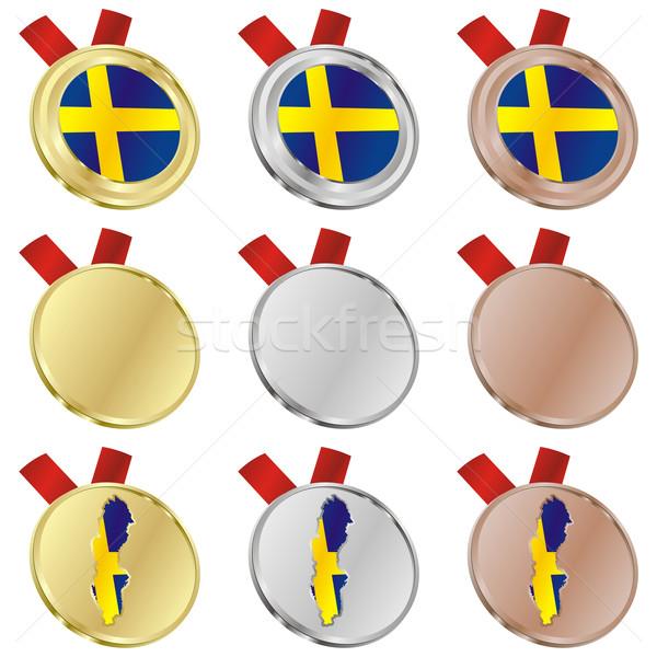 Svédország vektor zászló érem formák szerkeszthető Stock fotó © PilgrimArtworks