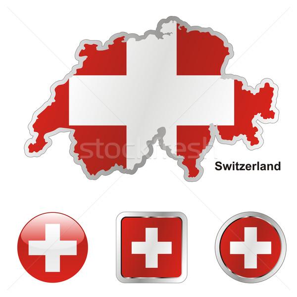Foto stock: Suiza · mapa · web · botones · formas