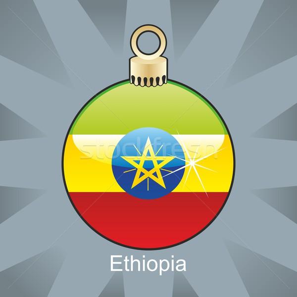 Odizolowany Etiopia banderą christmas żarówki Zdjęcia stock © PilgrimArtworks