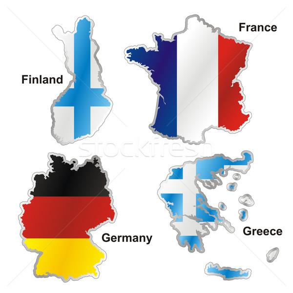 Geïsoleerd internationale vlag kaart vorm Stockfoto © PilgrimArtworks