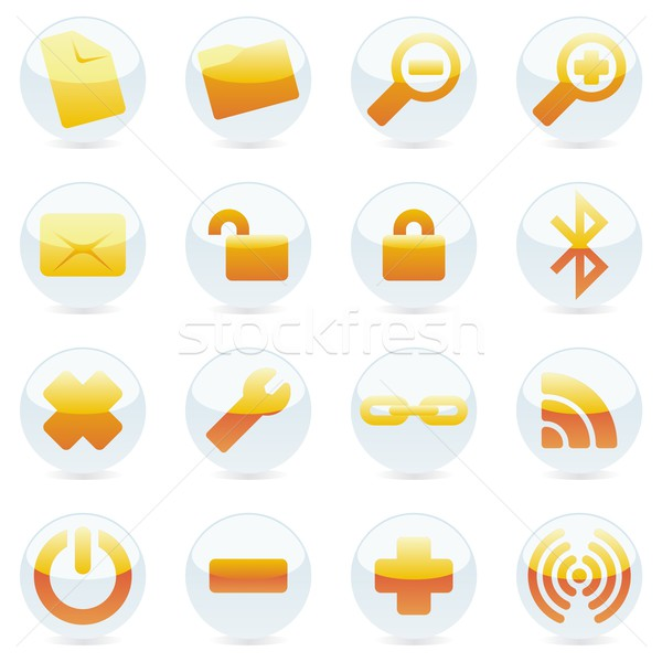 Geïsoleerd internet pictogrammen macht envelop nieuwe Stockfoto © PilgrimArtworks