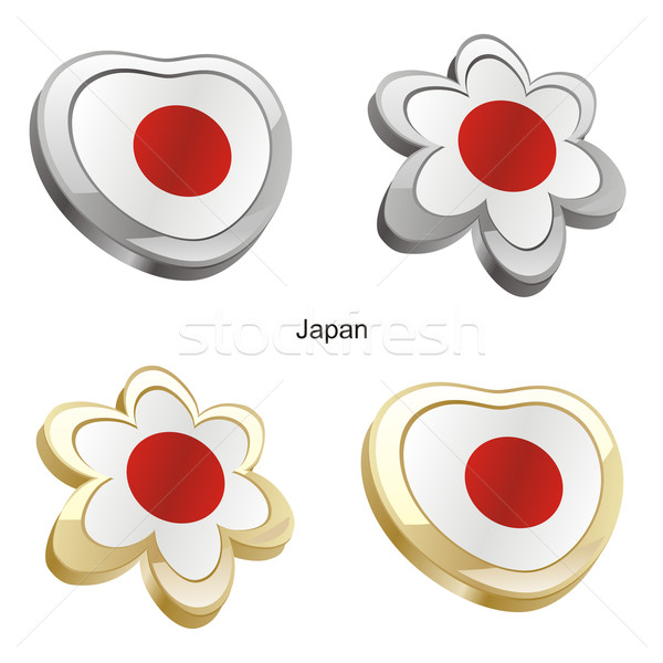 Stock fotó: Japán · zászló · szív · virág · forma · szerkeszthető