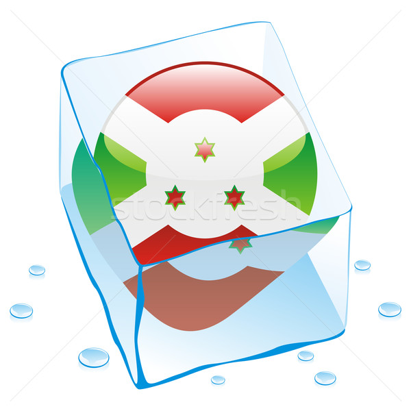 Foto stock: Burundi · botão · bandeira · congelada · ice · cube