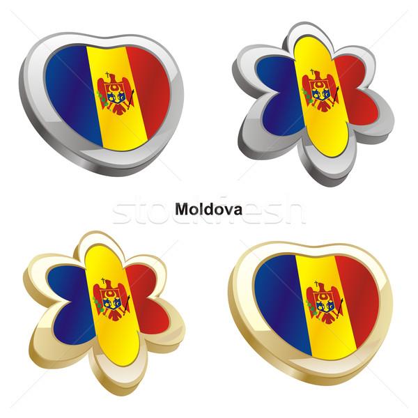 Moldavia bandera corazón flor forma Foto stock © PilgrimArtworks