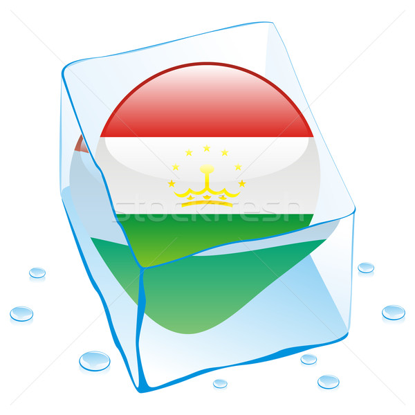 Таджикистан кнопки флаг заморожены Ice Cube Сток-фото © PilgrimArtworks