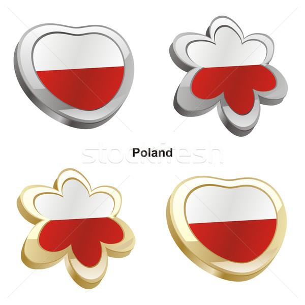 Polonia bandera corazón flor forma Foto stock © PilgrimArtworks