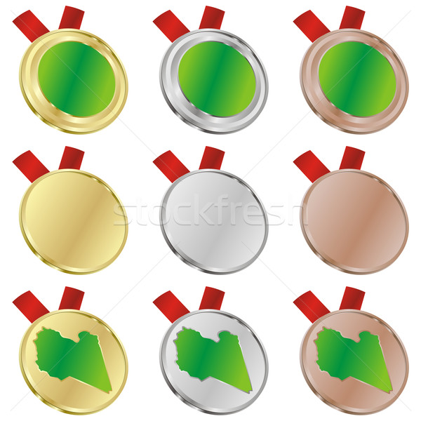 Libia wektora banderą medal Zdjęcia stock © PilgrimArtworks